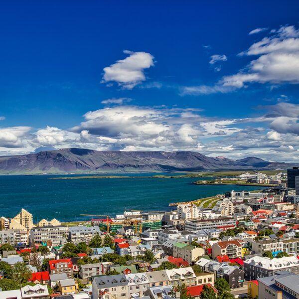 Bild över Reykjavik. Många hus i förgrunden, hav och berg i bakgrunden.